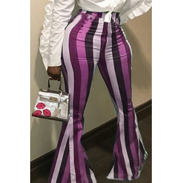 Lovely Euramerican Striped Purple Pants