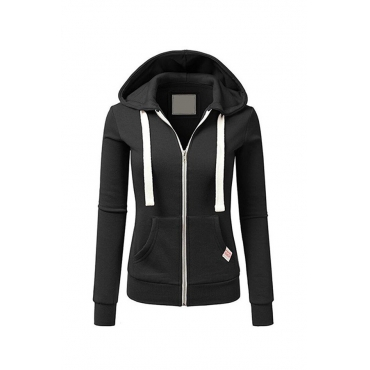 Lovely Casual Zipper Design Black Hoodies