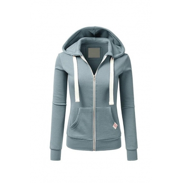 Lovely Casual Zipper Design Light Blue Hoodies