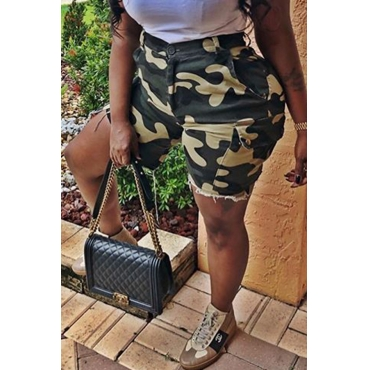 Lovely Casual Camouflage Printed Shorts