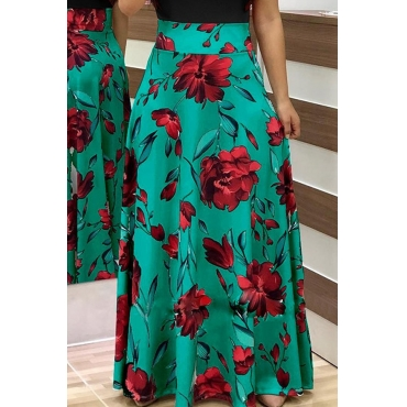 Lovely  Fashion Floral Printed Green Ankle Length Skirts
