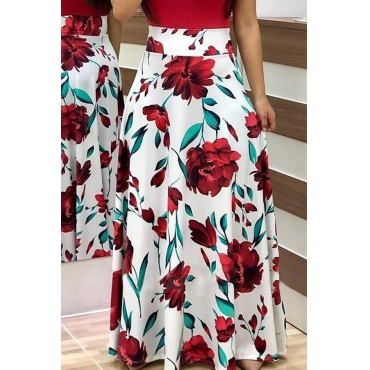 Lovely  Fashion Floral Printed White Ankle Length Skirts