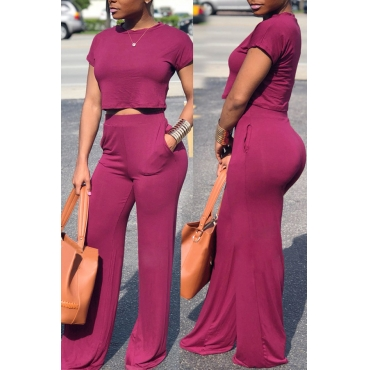 Lovely Casual Loose Purple Qmilch Two-piece Pants Set