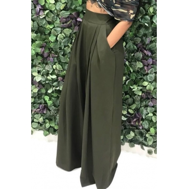 Lovely  Casual Loose Army Green Knitting Pants