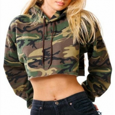 Lovely Casual Camouflage Printed Short Army Green Cotton Hoodies