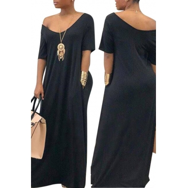 Lovely Casual Pockets Design Black Blending Floor Length Dress