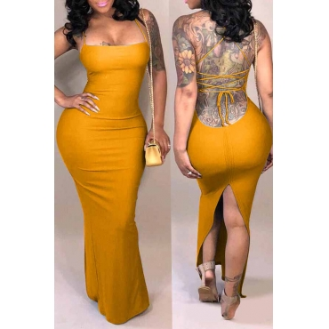 Lovely Casual Backless Yellow Qmilch Ankle Length Dress