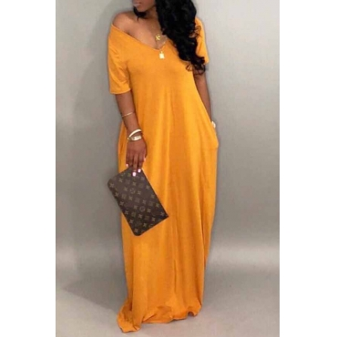 Lovely Casual Pockets Design Yellow Blending Floor Length Dress