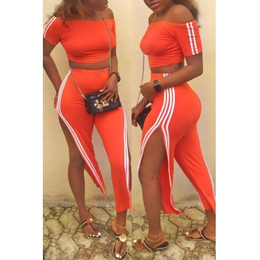 Lovely  Casual Striped Side Slit Orange Qmilch Two-piece Pants Set