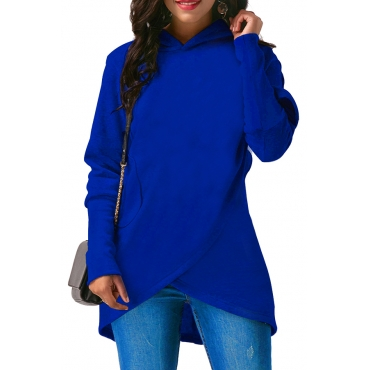 Lovely Casual Asymmetrical Blue Long Hoodies