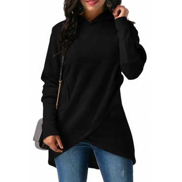 Lovely  Casual Asymmetrical Black Long Hoodies