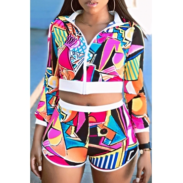 Lovely Casual Sportswear Geometric Printed Multicolor Two-piece Shorts Set