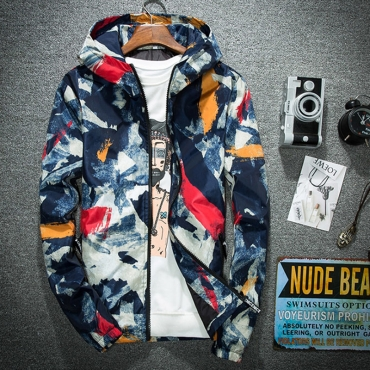 Lovely Casual Geometric Printed Autumn Blue Hoodies