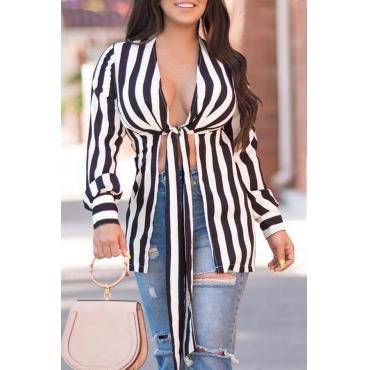 Lovely Casual V Neck Striped Black Blouses