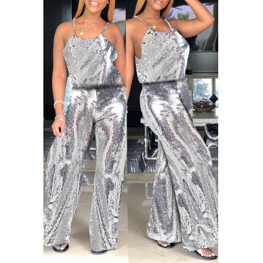 Lovely Euramerican  Sequined Loose Silver  One-piece Jumpsuit