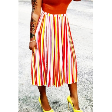 Lovely Casual Striped White Mid Calf Skirts