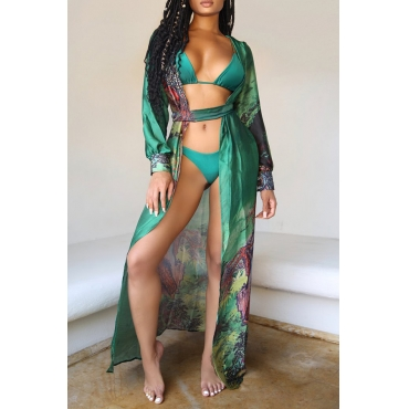 Lovely  Casual Floral Printed Green Chiffon Cover-Up(Without Bra Set)