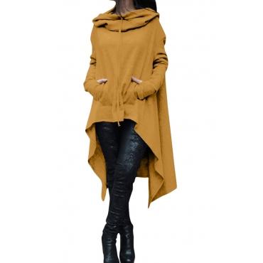 Lovely Casual Asymmetrical Drawstring Long Yellow  Hoodie