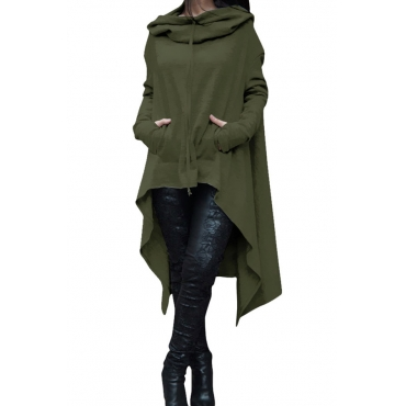 Lovely  Casual Asymmetrical Drawstring Long Army Green Cotton Hoodies