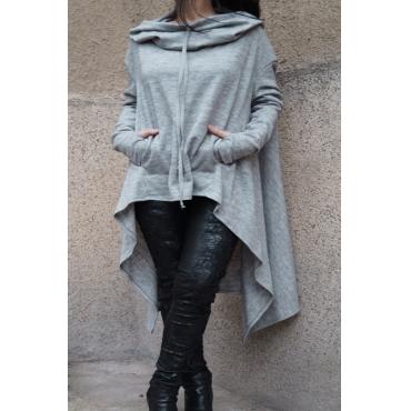 Lovely Casual Asymmetrical Drawstring Long Light Grey Hoodie