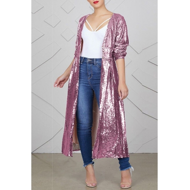 Lovely Euramerican Sequined Decorative Long Pink Coat