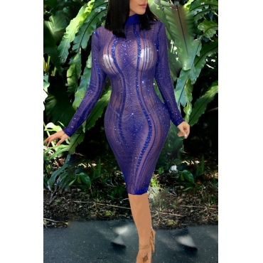 Lovely Sexy Long Sleeves See-through Blue Knee Length Dress(Without Underclothes )