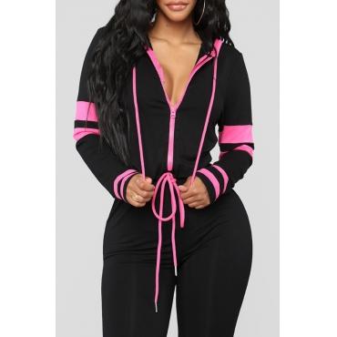 Lovely Euramerican Hooded Collar Patchwork Black Blending One-piece Jumpsuit