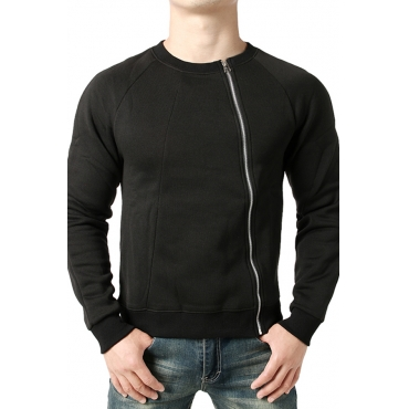 Lovely  Casual Zippers Design Black Blended Hoodies
