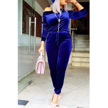 Lovely Casual Sloping Shoulder Deep Blue Velvet One-piece Jumpsuit