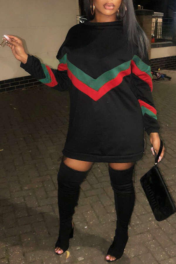 Lovely Chic Patchwork Black Mini Dress