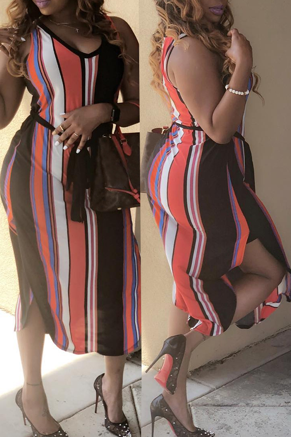 Lovely Casual Striped Multicolor Mid Calf Plus Size Dress