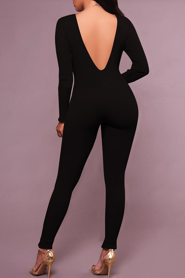 72af39e44506 Lovely Casual V Neck Skinny Black Cotton One-piece Jumpsuit(Without Belt)