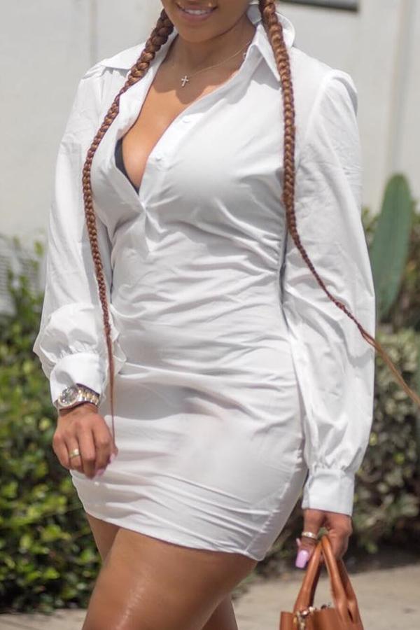 Lovely Casual V Neck Slim White Knitting Mini Dress