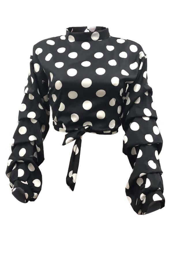 Lovely Trendy Dots Printed Black Blouses