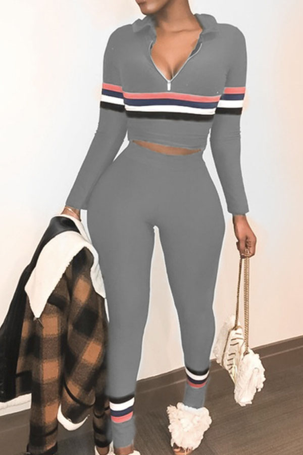 Lovely Casual Patchwork Grey Omilch Two-piece Pants Set