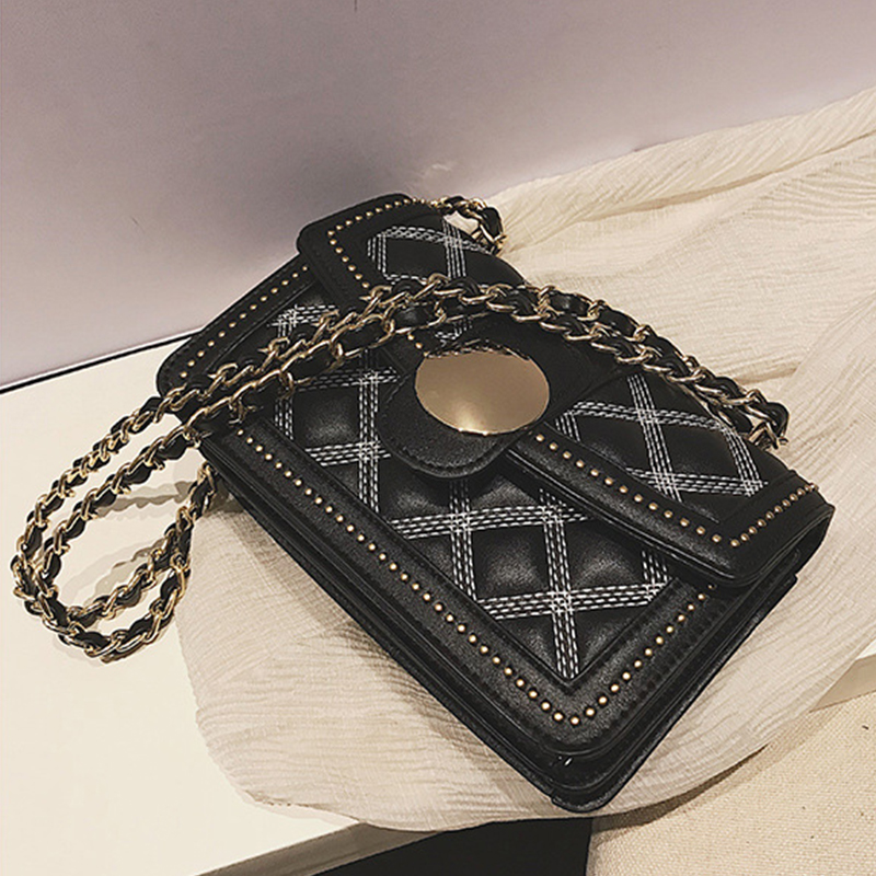 Lovely Euramerican Rhombic-shaped Grid Black Patent Leather Shoulder Bags