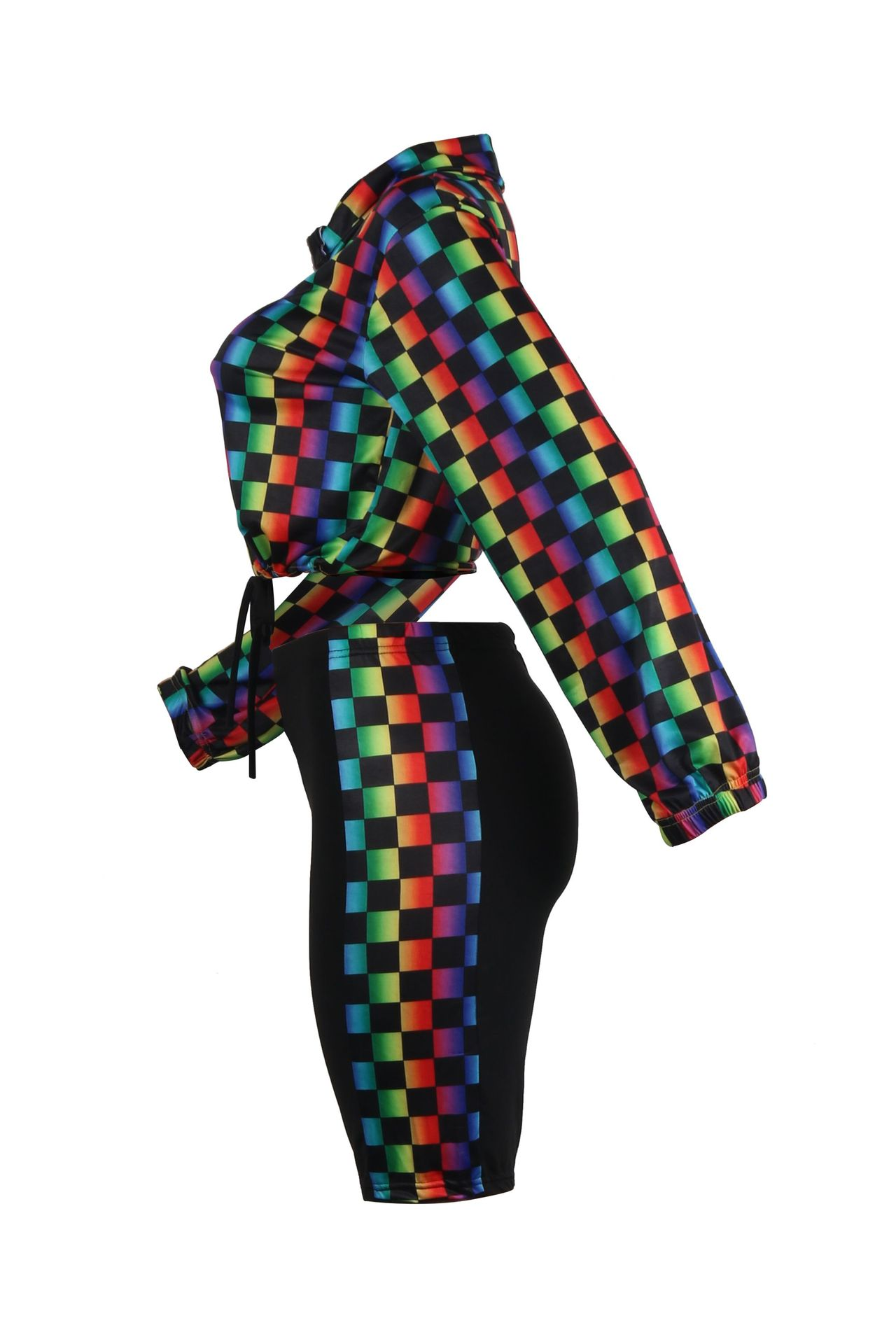 Lovely Casual Grids Printed  Multicolor Two-piece Pants Set