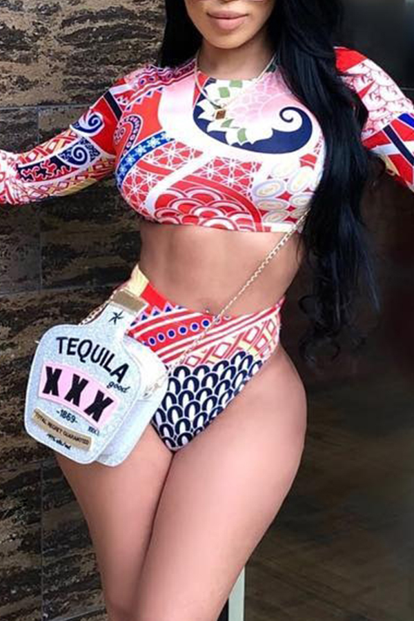 Lovely Casual Long Sleeves Printed Red Two-Piece Swimwear Set
