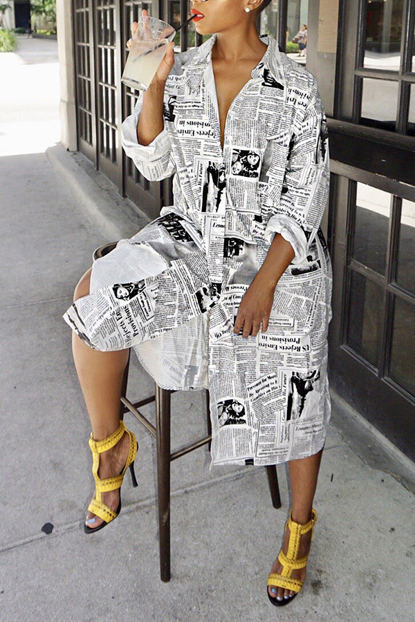 Lovely Fashion Printed White Blending Knee Length Dress