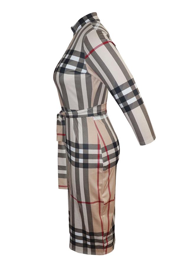 Lovely  Euramerican  Grids Printed Lace-up Khaki Blending Knee Length Dress