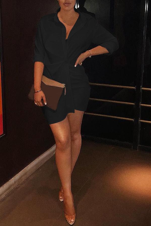 Lovely Euramerican Drape Design Black Mini Dress