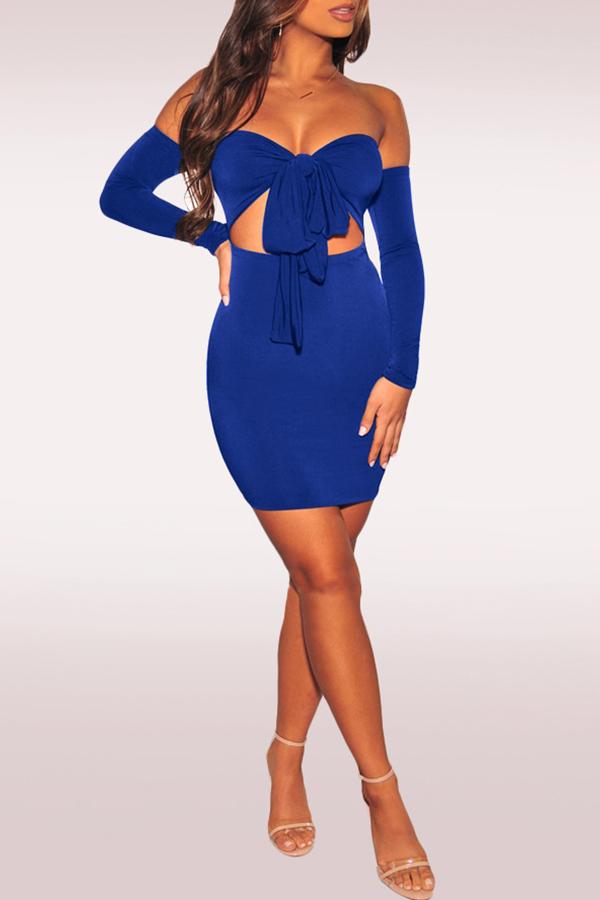 Lovely Elegant Dew Shoulder Hollowed-out Blue Mini Dress