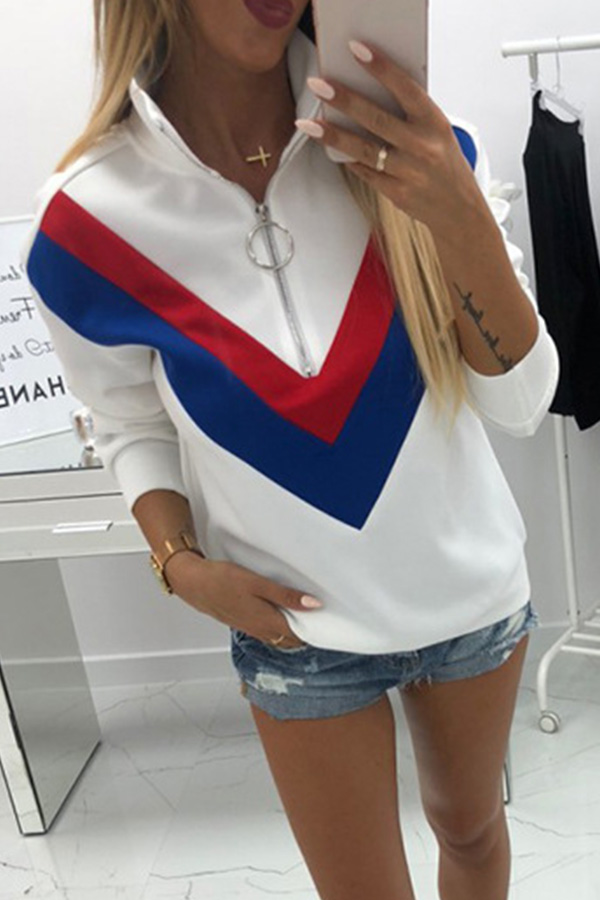Lovely Euramerican Patchwork White Cotton Hoodies