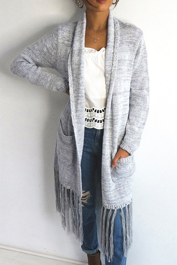 Lovely Casual Tassel Design Long Grey Cotton Coat