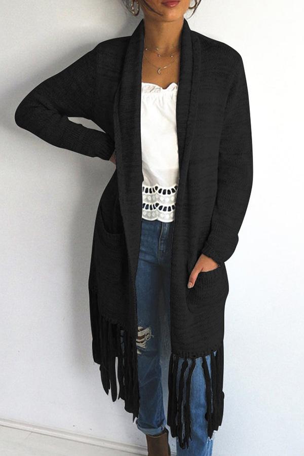 Lovely Casual Tassel Design Long Black Cotton Coat