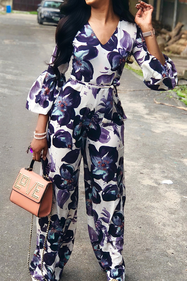Lovely Casual Floral Printed Multicolor One-piece Jumpsuit