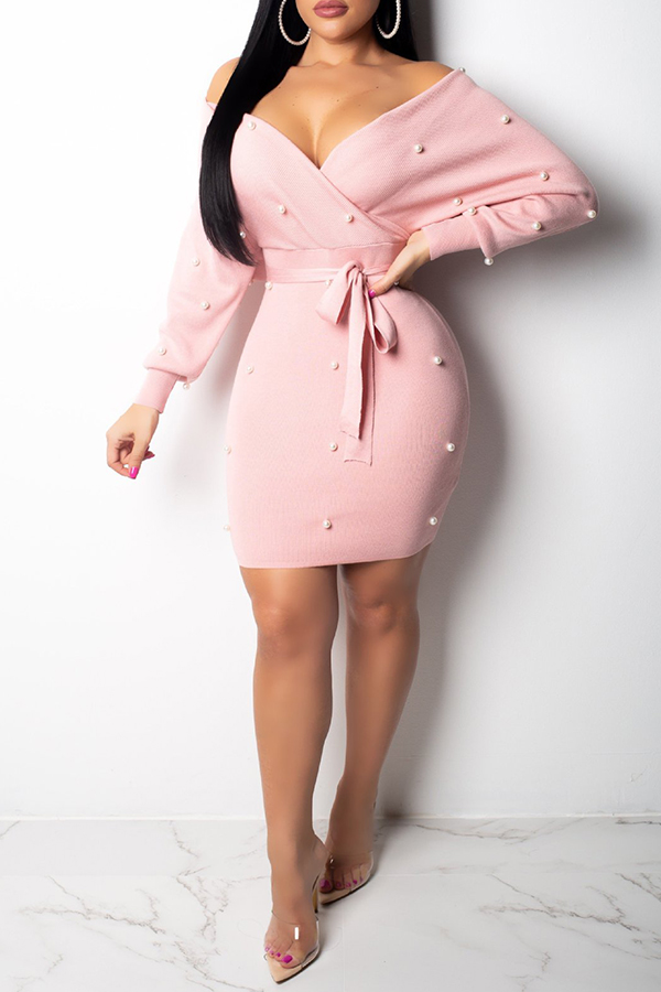 Lovely  Casual Dew Shoulder Nail Bead Design Pink Spandex Mini Dress