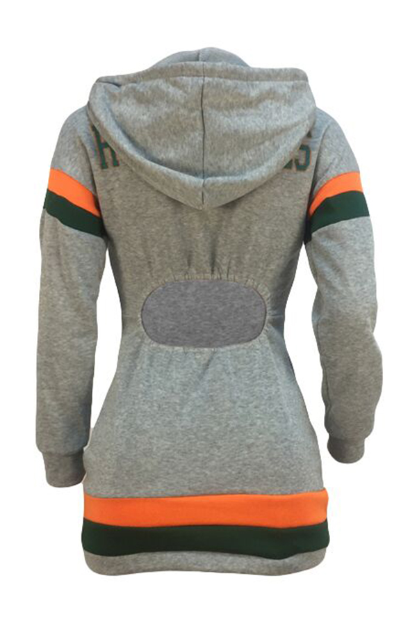 Lovely Euramerican Hooded Collar Patchwork Grey Mini Dress