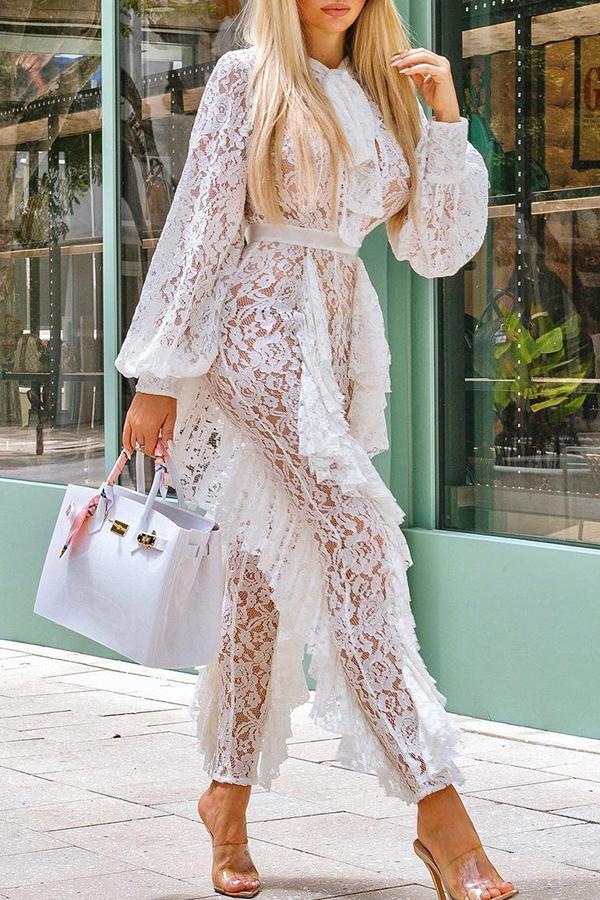 Lovely Elegant Flounce Design White Lace One-piece Jumpsuit