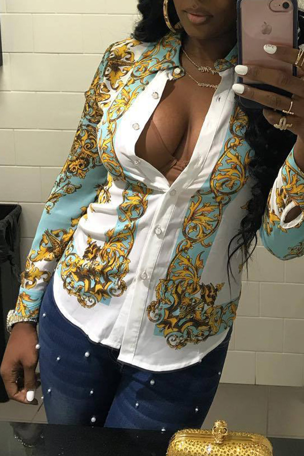 Lovely  Casual Positioning Printed Multicolor Blouses